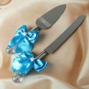 нож и  допатка для свадебного торта бирюзового фото