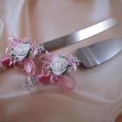 приборы для свадебного торта розовые фото