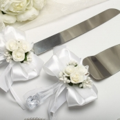 нож и лопатка для свадебного торта белые с букетами
