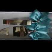 нож и лопатка для торта бирюзовые фото