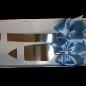 нож и лопатка для свадебного торта голубые купить