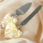нож и лопатка для торта айвори фото