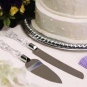 нож и лопатка для торта без декора