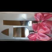 нож и лопатка для торта розвые фото