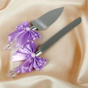 нож и лопатка для торта сиреневые фото