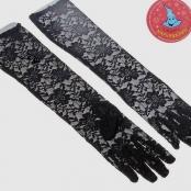 перчатки черные гипюровые с пальцами