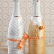 чехлы на свадебное шампанское персиковые Жених и Невеста купить
