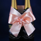 персиковое украшения на свадебное шампанское
