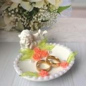 ангелочек для колец персиковый купить на sale-svadba.ru