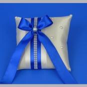 подушечка для колец синяя с жемчужной лентой
