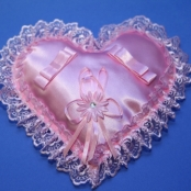 подушечка для колец розовое сердечко