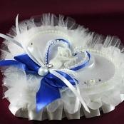 подушечка для колец синяя сердечко купить