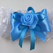 бирюзовая свадебная подвязка купить