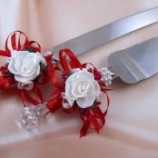 нож и лопатка для свадебного торта красные фото