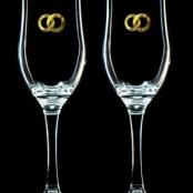прозрачные свадебные бокалы с золотом