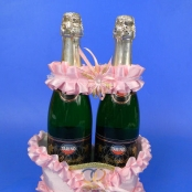 корзинка для шампанского розовая недорого