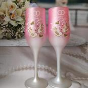 розовые свадебные бокалы фото