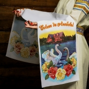 рушник синий с лебедями фото sale-svadba.ru