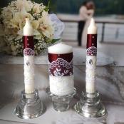 марсала свадебные свечи с кружевом