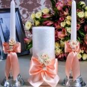 свадебные свечи персиковые фото