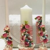 пудровые свадебные свчи очаг набор фото