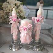 розовые свечи свадебные со скидкой фото