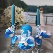 синие свадебные свечи светло-синие фото