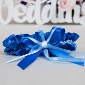 подвязка невесты синяя шелковая купить