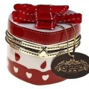 шкатулка для колец белая, красная с сердечками