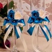 свадебные бокалы синие ручной работы купить
