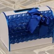 коробка для денег на свадьбу синяя фото