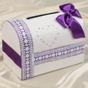 фиолетовая свадебная коробка купить