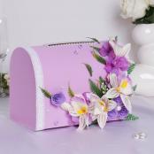 коробка для денег сиреневая с ветами фото