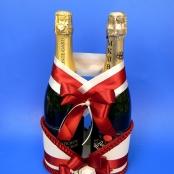 украшение на свадебное шампанское с бантом и розой