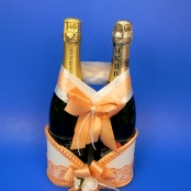 свадебная корзинка персиковая для шампанского купить