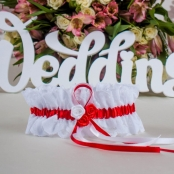 подвязка невесты стрейч кружево красная фото