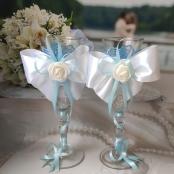бело-голубые свадебные бокалы фото