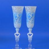 свадебные бокалы бело-голубые фото