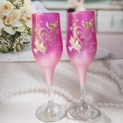 свадебные бокалы малиновые голуби фото