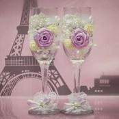 свадебные бокалы с розами