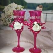 малиновые бокалы на свадьбу
