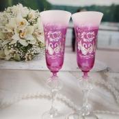 бокалы на свадбу малиновые фото