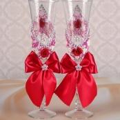 свадебные бокалы малиновые ручной работы фото