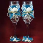 морские свадебные бокалы фото