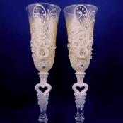 свадбеные бокалы персиковые фото