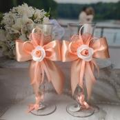 свадебные бокалы персиковые фото
