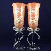 свадебные бокалы персиковые фото sale-svadba.ru