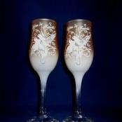 персиковые свадебные бокалы фото