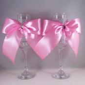 свадебные бокалы розовые фото