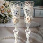 свадебные бокалы с сердцами фото